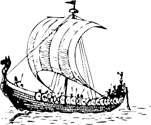 Picture of a Phonecian Ship - The mermaid works on a phoenecian method of storing fresh water in copper containers to last longer.